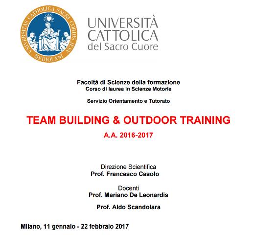 Unicatt Outdoor training 2016
